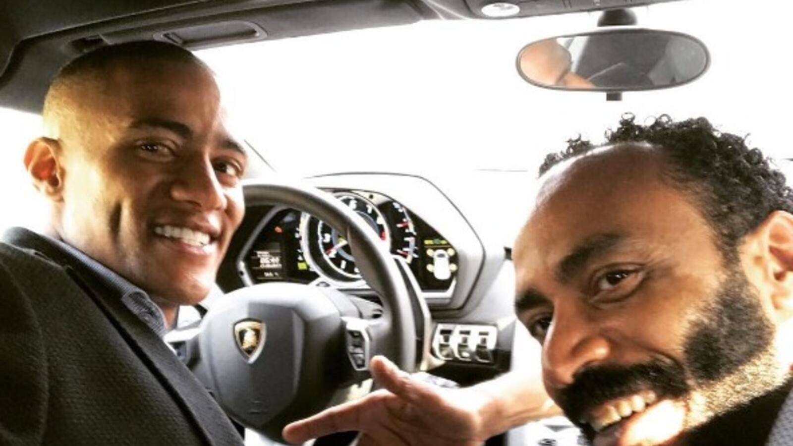 Mohamed Ramadan in his car with his brother. (Instagram)