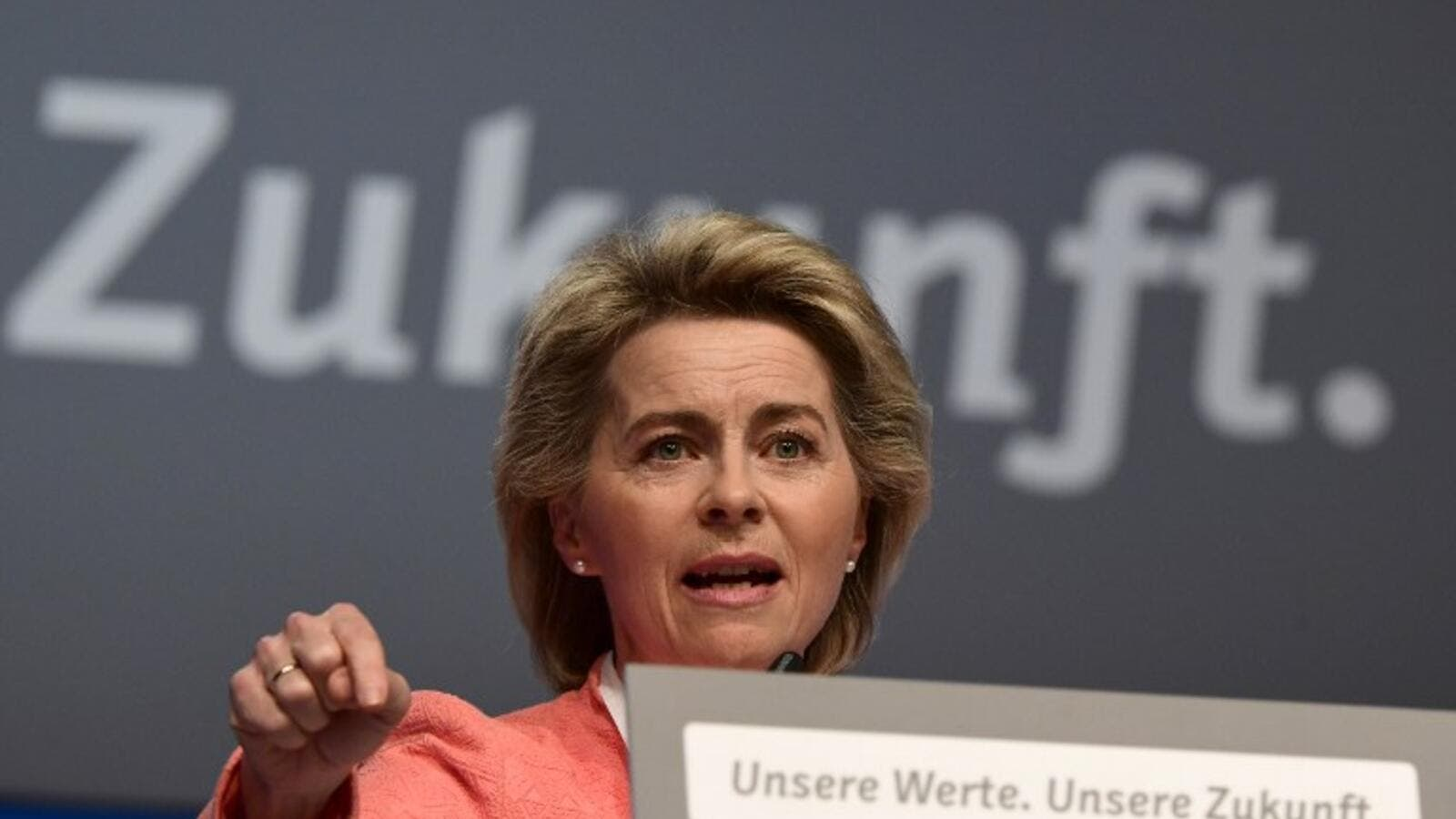 Von der Leyen speaks at her party's conference last week (Tobias Schwarz/AFP)