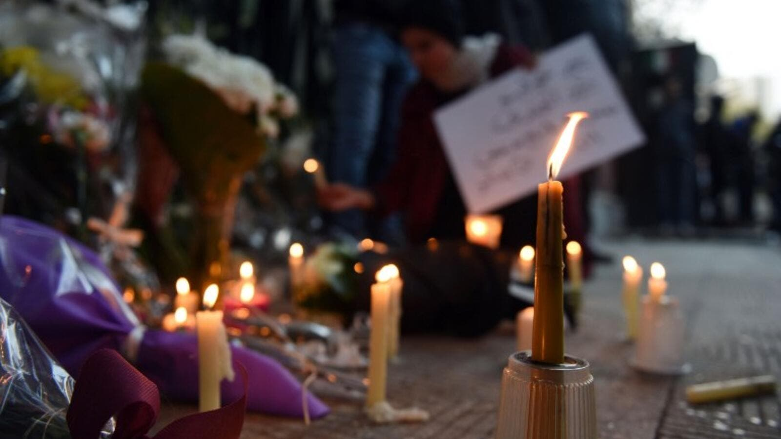 A memorial for Italian researcher Giulio Regeni was held outside the Italian embassy in Cairo in February. (AFP/File)