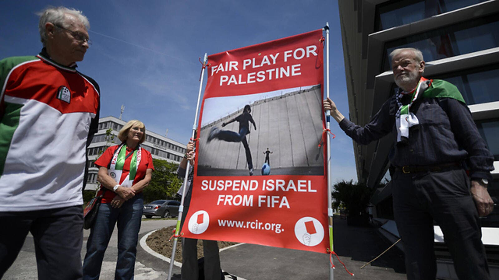 Protesters in Zurich call for Israel's suspension from FIFA. (AFP/File)