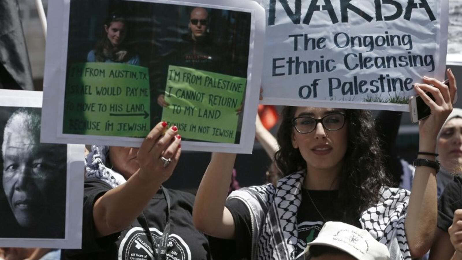 Nakba day protests on Monday outside Ramallah (Abbas Momani/AFP)