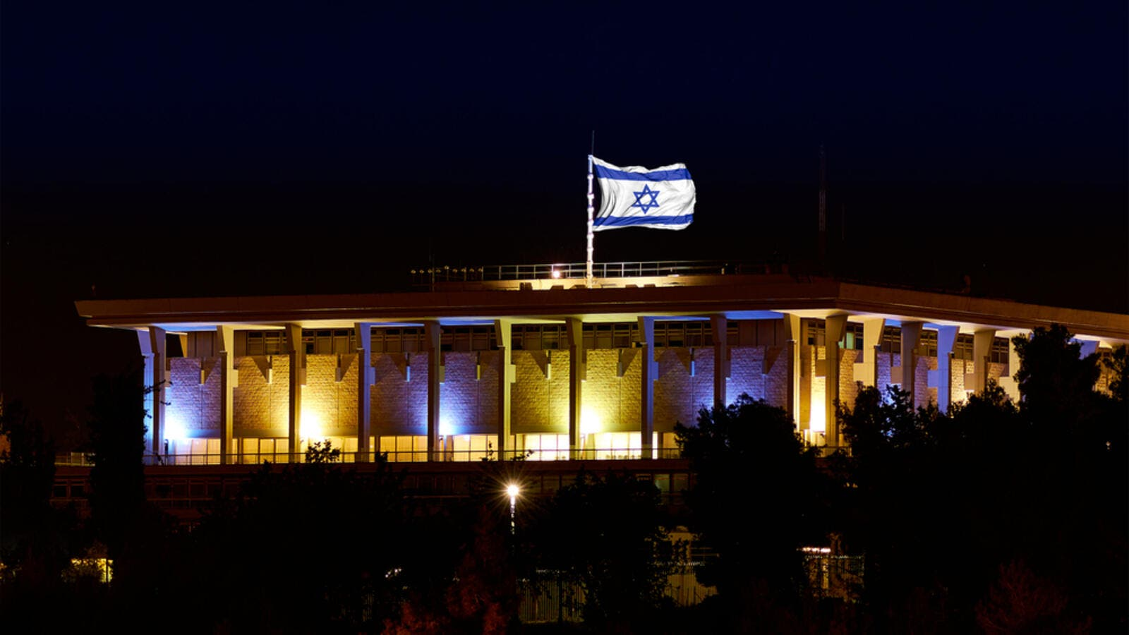 The Israeli parliament, the Knesset, at night. (Shutterstock)