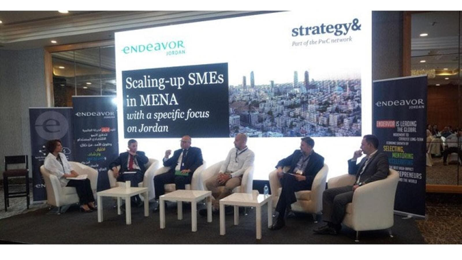 Panelists discuss issues facing scale-up small-and medium-enterprises in the Middle East and North Africa during a meeting organised by Endeavor Jordan and Strategy & Middle East in Amman, on Sunday. (Jordan Times)