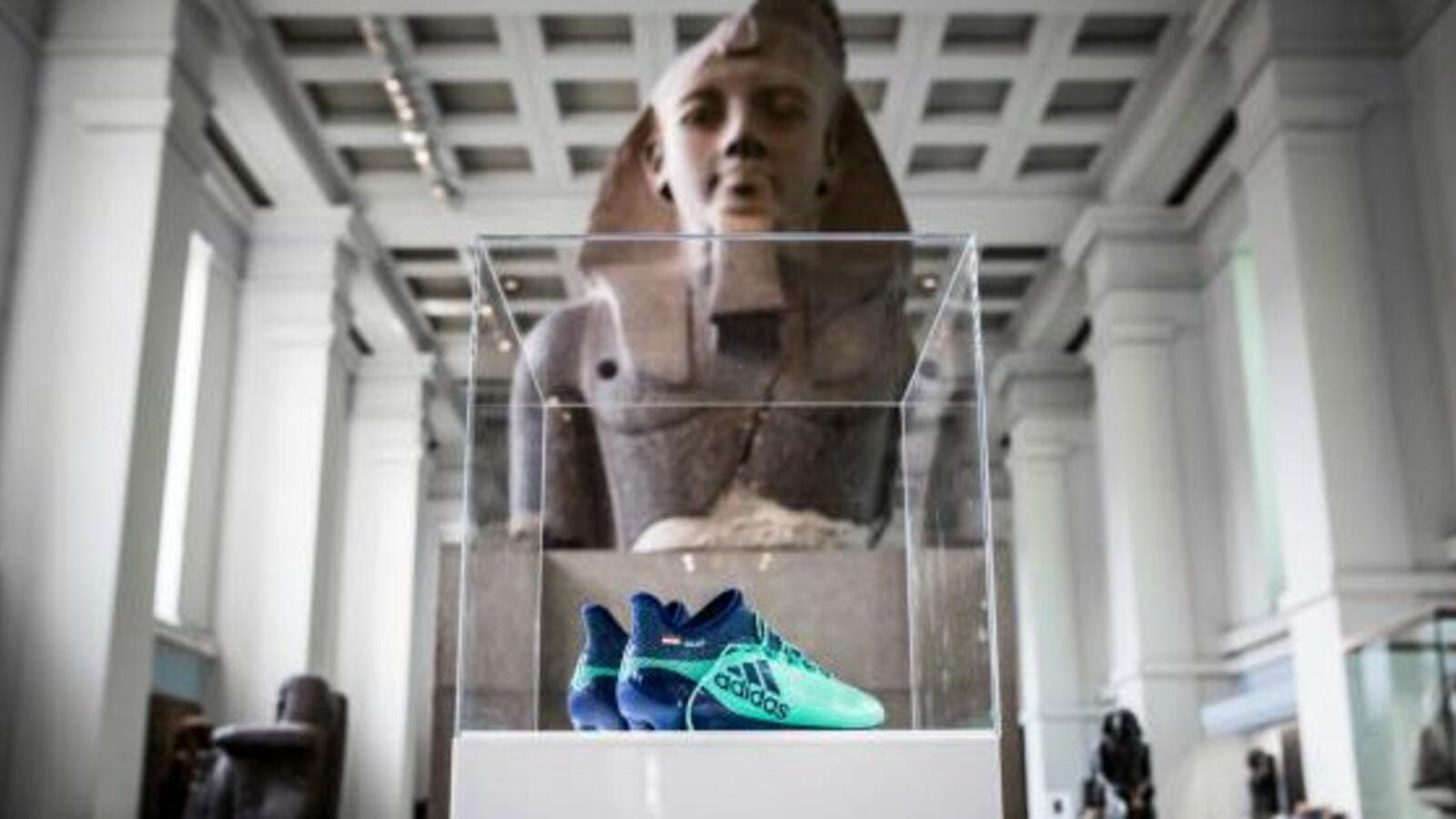 "The British Museum in London put on display Mohammad Salah's mint green football boots as part of its ""Modern Egypt's Exhibition"" (Twitter)"