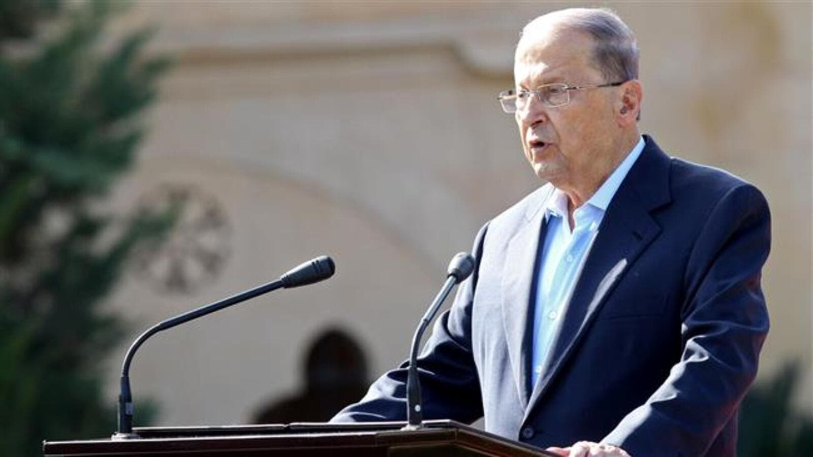 Lebanese President Michel Aoun says Lebanon condemns the violation of Lebanese airspace when Israeli jets flew over the country to strike at a base in Homs in Syria. (AFP/ File Photo)