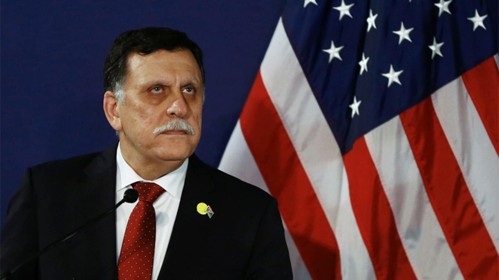 Fayez Sarraj addresses a press conference on May 16, 2016 in Vienna, Austria. (AFP/Leonhard Foeger)