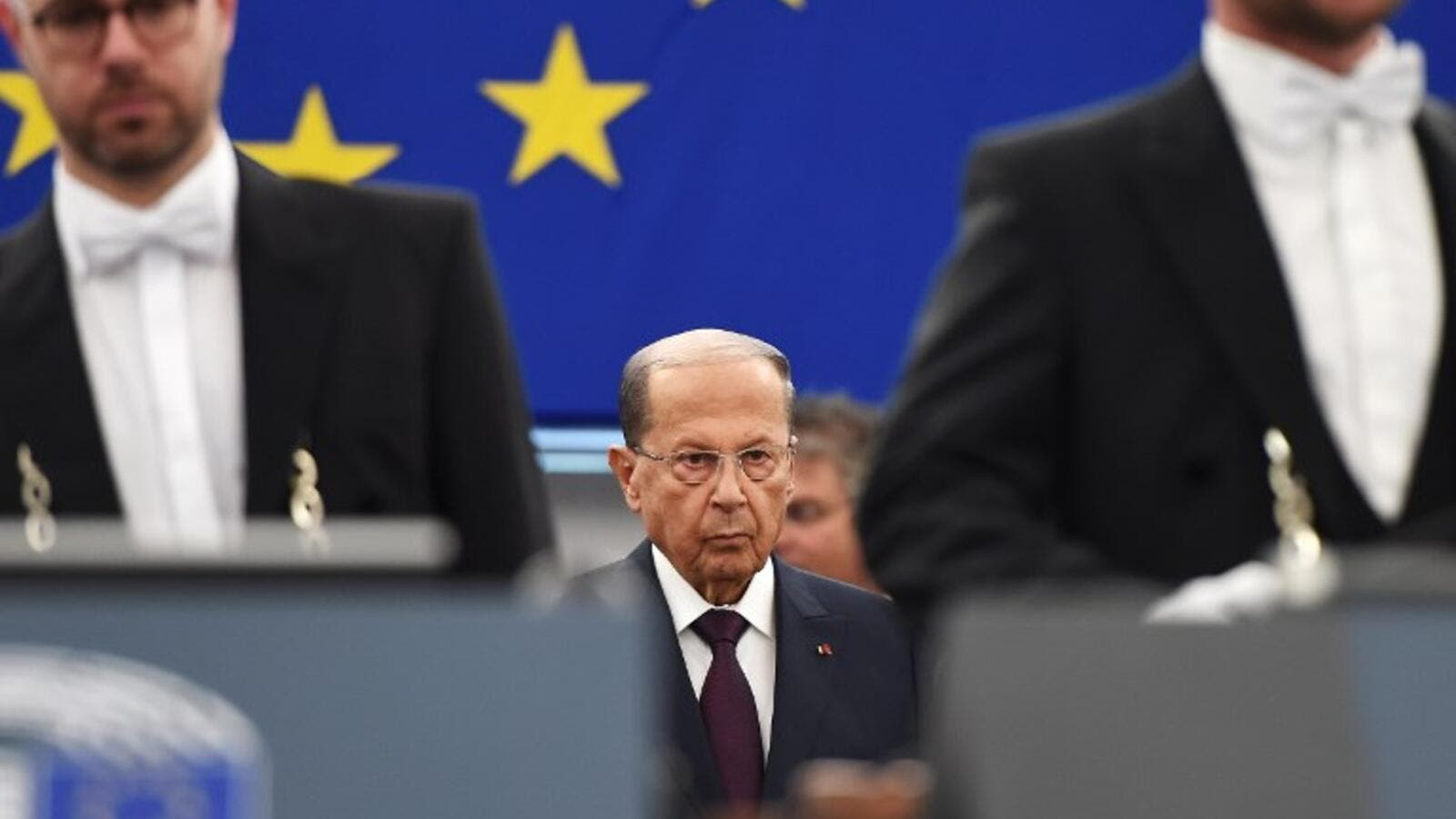 Lebanese President Michel Aoun arrives to deliver a speech during a plenary session at the European Parliament on September 11, 2018 in Strasbourg, eastern France. 