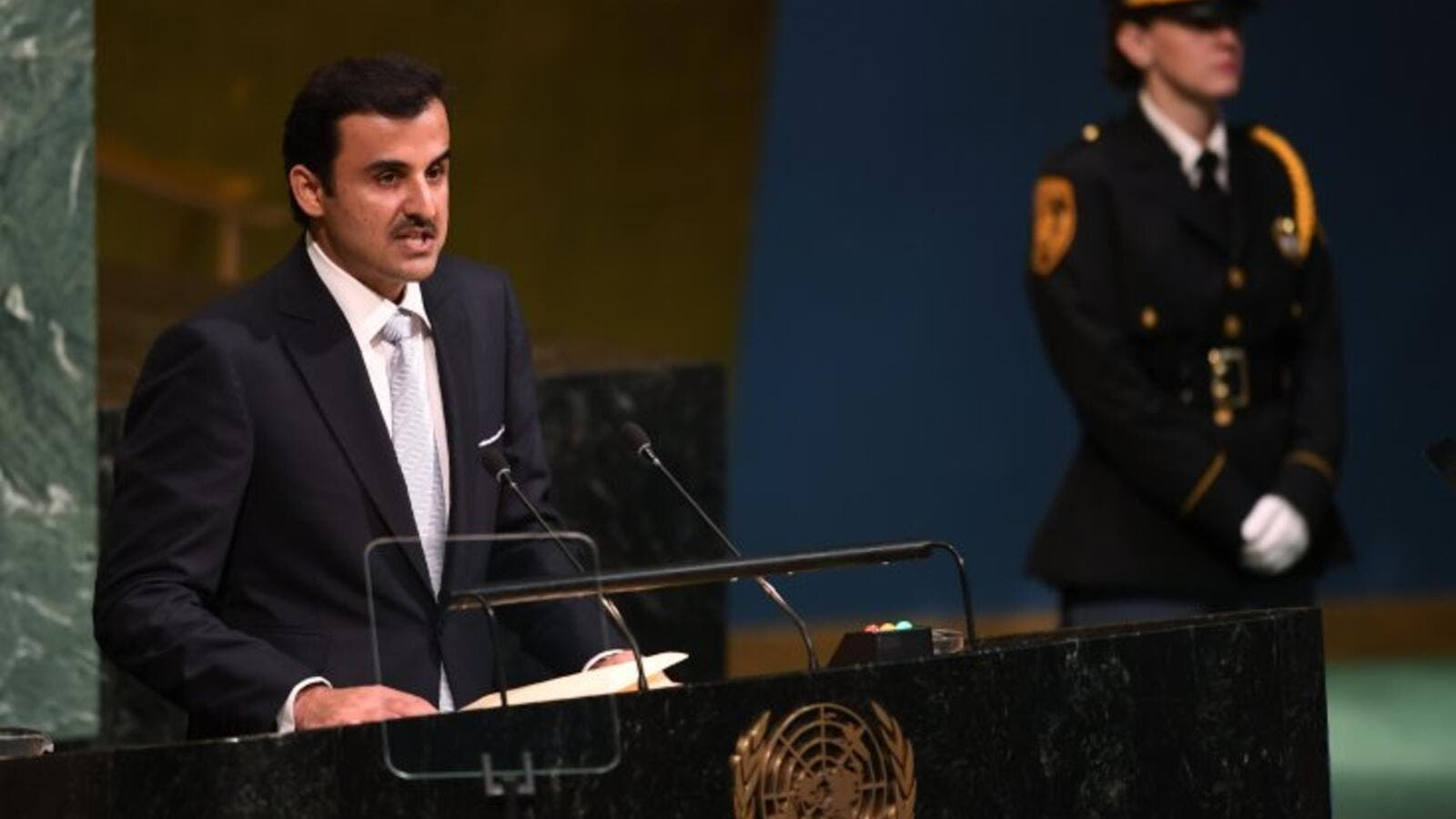 Qatar's Emir, Tamimi bin Hamad had a speech at the latest meeting for the UN General Assembly earlier this week. (File Photo/AFP)