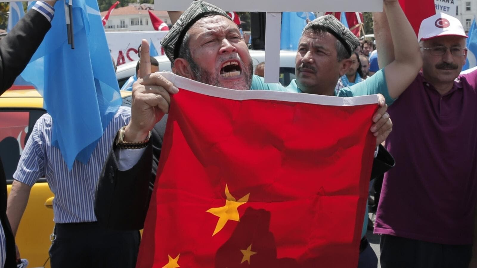 Hundreds of protesters marched in Istanbul chanting anti-China slogans outside the Chinese consulate in 2015. (FilePhoto/AFP)