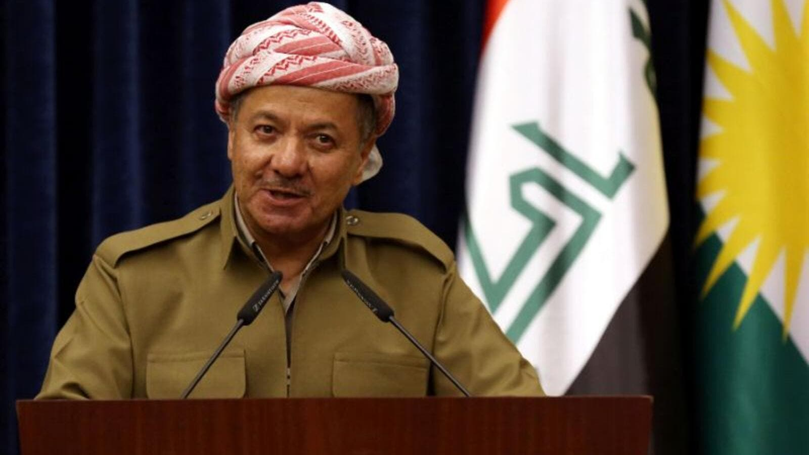 President of Iraq's autonomous Kurdish region speaks in Erbil on January 11, 2015 (AFP Photo/Safin Hamed)
