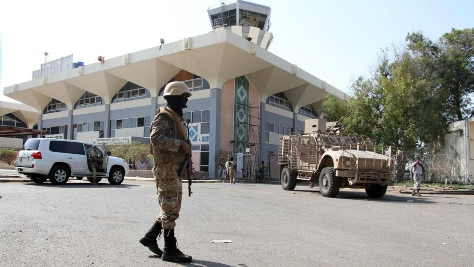 Yemeni security forces guard Aden's airport. (AFP)
