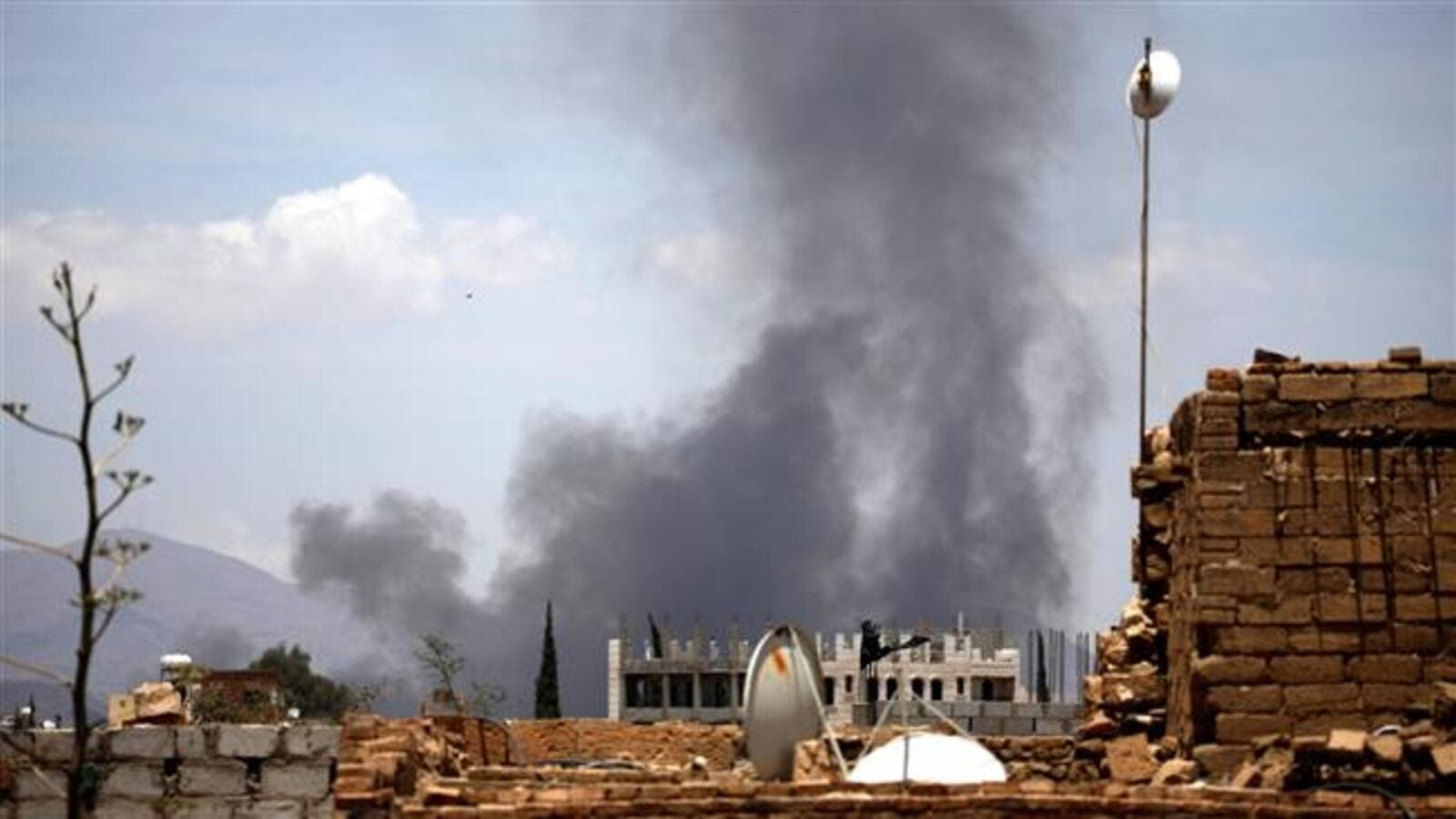 Smoke rising following Saudi airstrike  targeting the al-Dailami Airbase in Yemeni capital Sana'a. (AFP/ File Photo)
