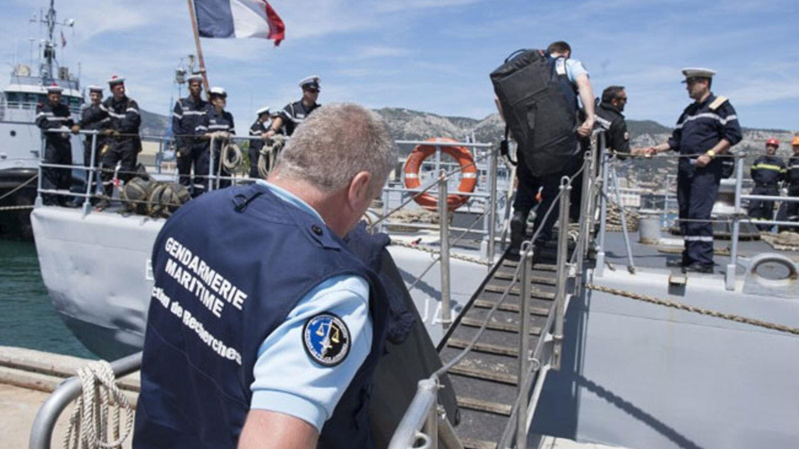 Southeastern France shows French marines embarking to take part in a search operation of the missing EgyptAir plane. (AFP/Stephane Dzioba/Sirpa Marine)