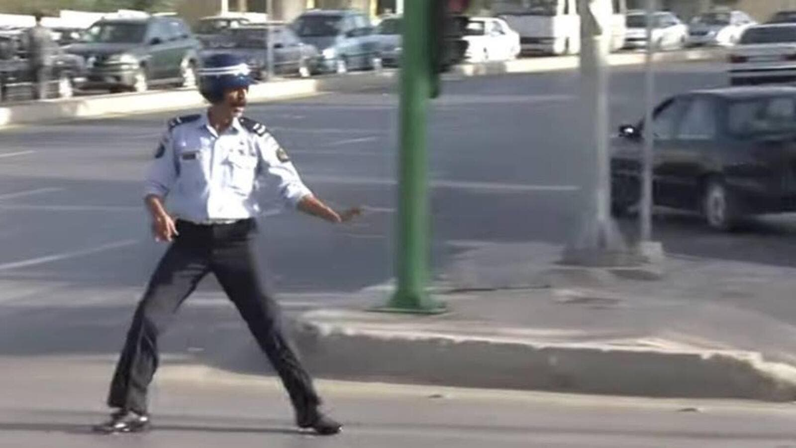 Thneibat, the most famous traffic officer in Jordan, rather enjoyed busting a move on the job - as did everyone else, particularly those stuck in traffic. (Courtesy photo)