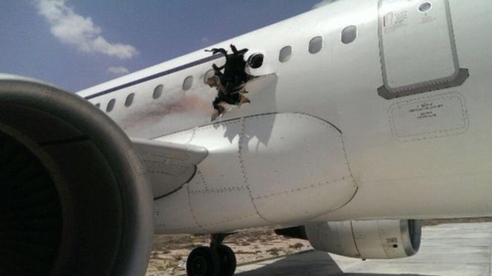 The Daallo Airlines Airbus 321 with 74 passengers on board made an emergency landing in the capital Mogadishu after the explosion shortly after take-off. (Social media)