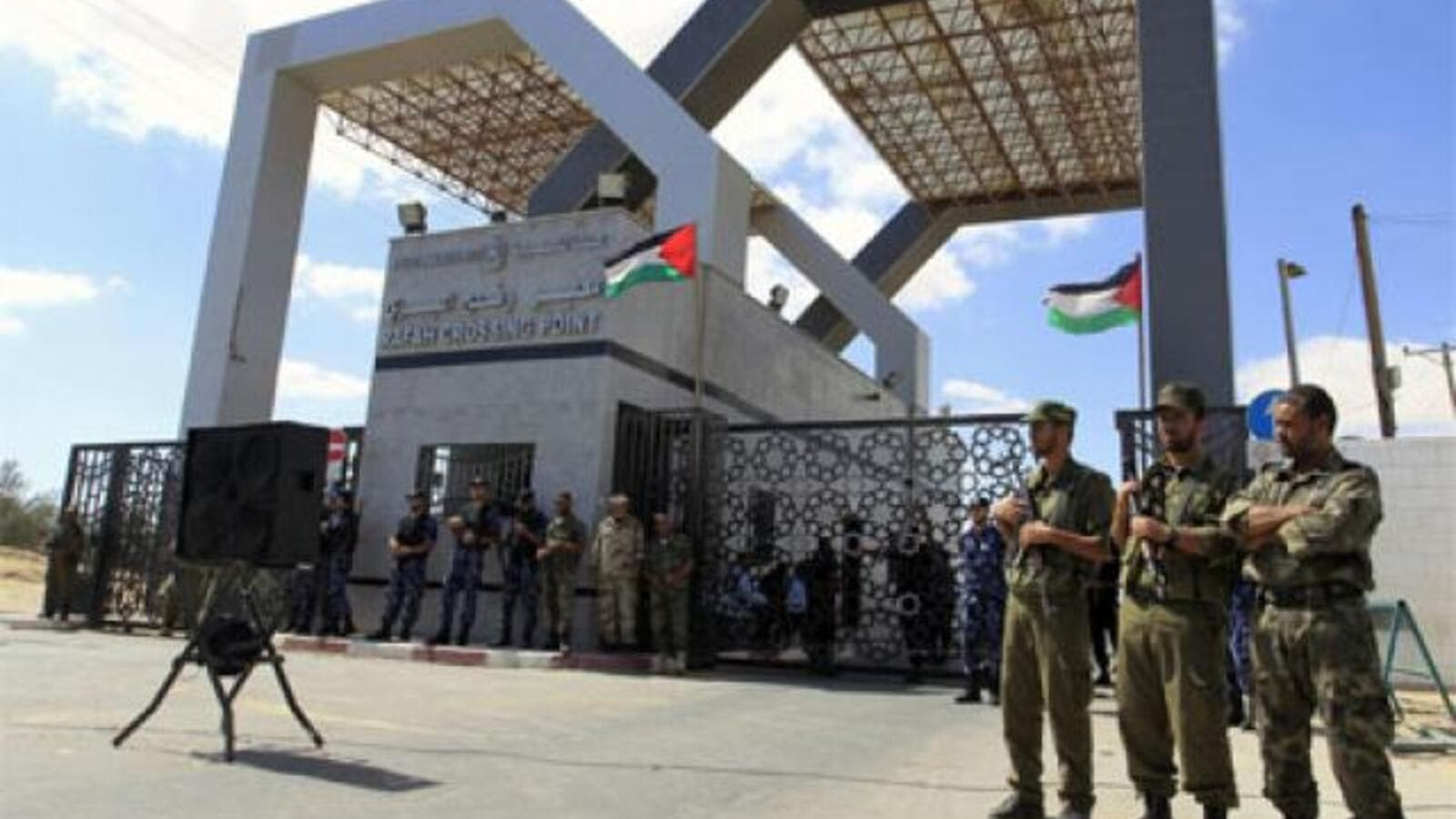 Guards posted at Rafah crossing to Gaza. (AFP/File)