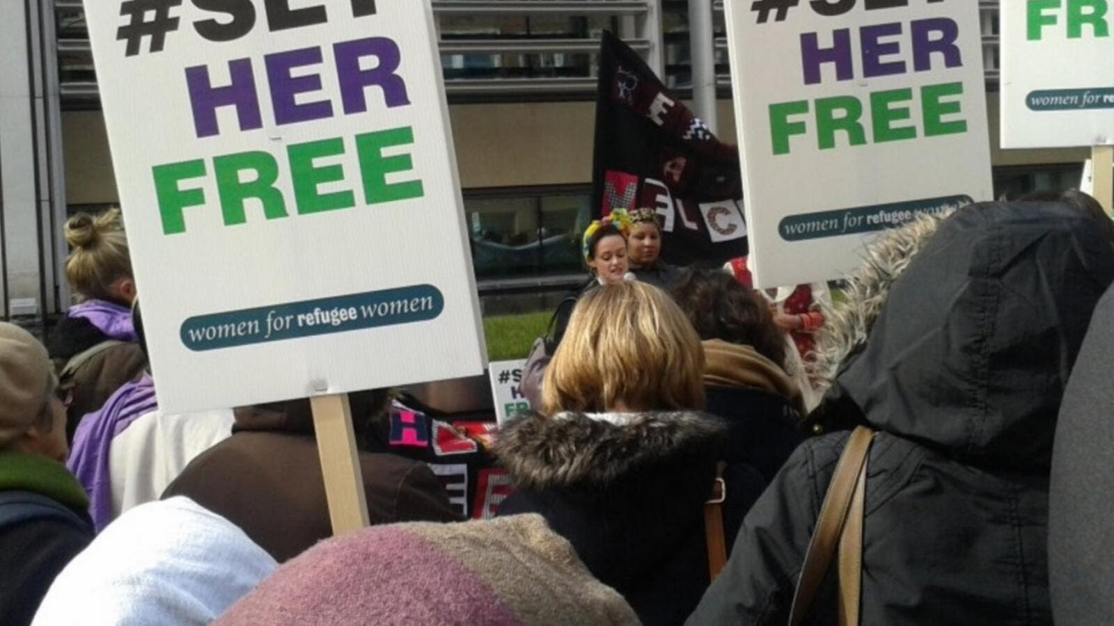 """Home Secretary, you are a woman too"": protesters call on Theresa May to free Yarl's Wood detainees. (AFP/File)"