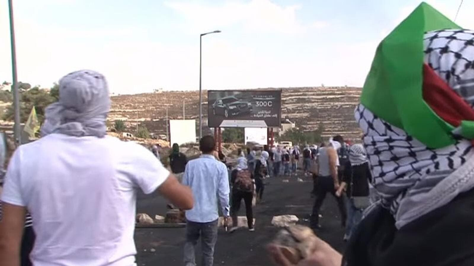 Palestinians protest near Beit El in the West Bank (Wikimedia Commons)