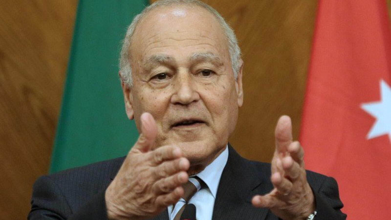 Arab League Secretary-General Ahmed Aboul Gheit gestures during a joint conference. (File/AFP)