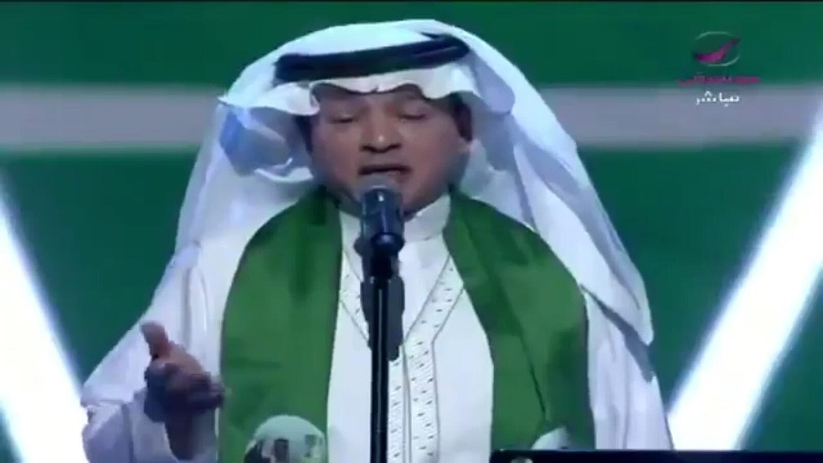 During the Saudi Arabia's national day celebrations on Saturday, Talal Salama was filmed singing a Quranic verse (Twitter)
