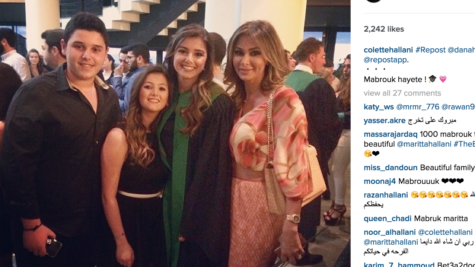 Marita with her family on her graduation day. (Instagram)