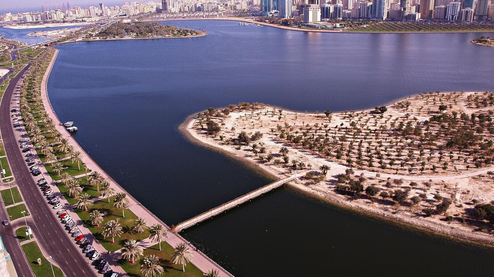 Aerial view of Sharjah's corniche. (Creative commons)
