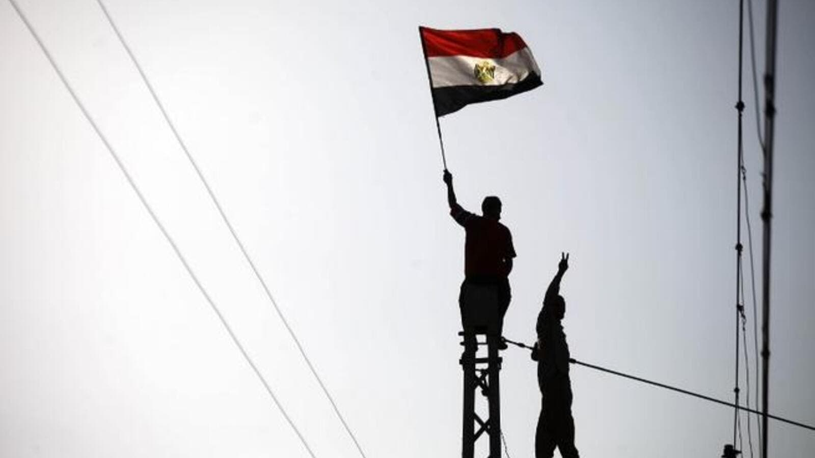 Protestor waves a flag as another makes the victory sign at the top of a Cairo electricity pole (AFP)