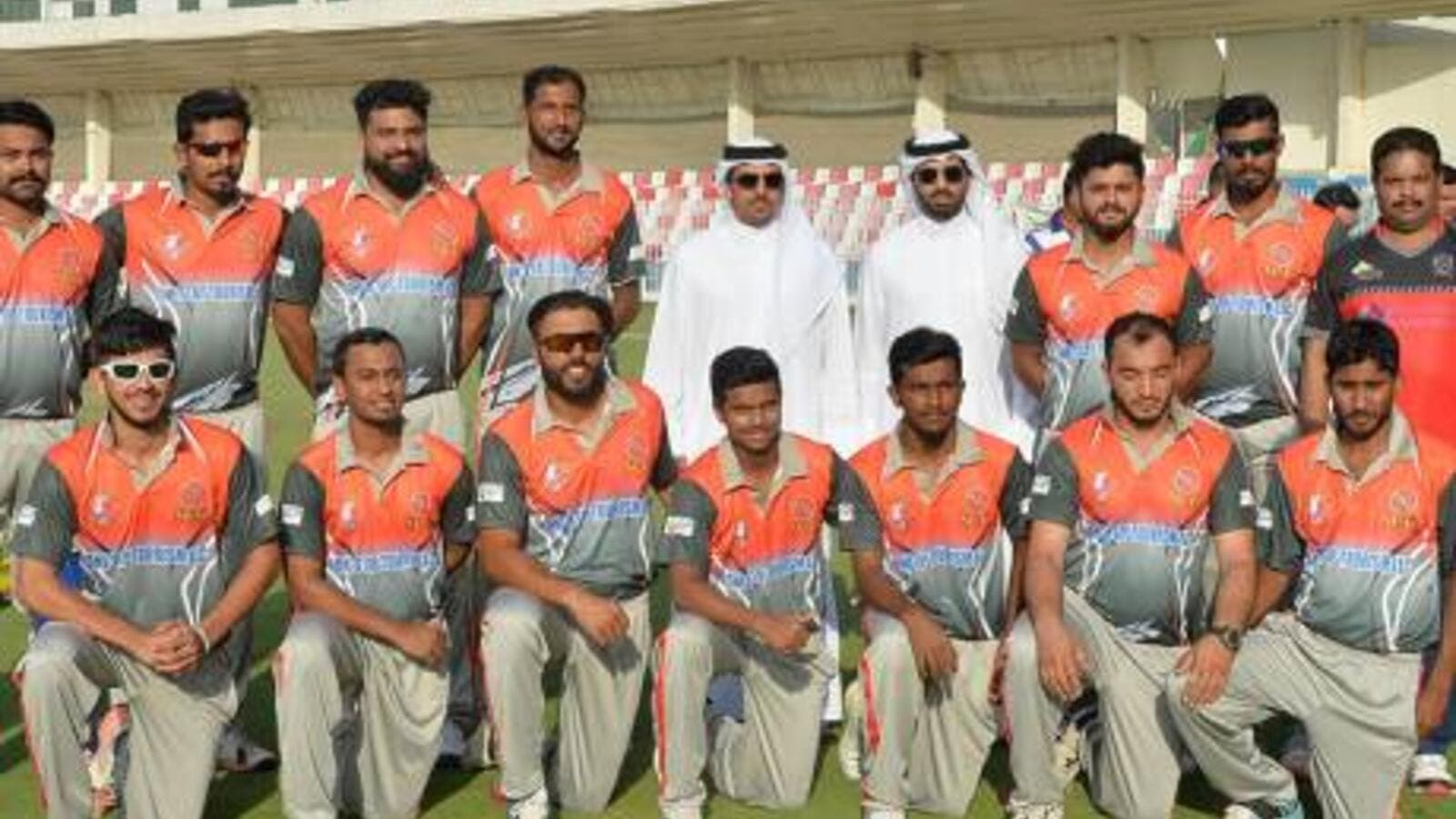 The Bukhatir XI team which won the opening match of the One Stop Tourism 43rd Bukhatir Premier League at the Sharjah Cricket Stadium with Waleed Bukhatir and Khalaf Bukhatir. (Photo: SCC)