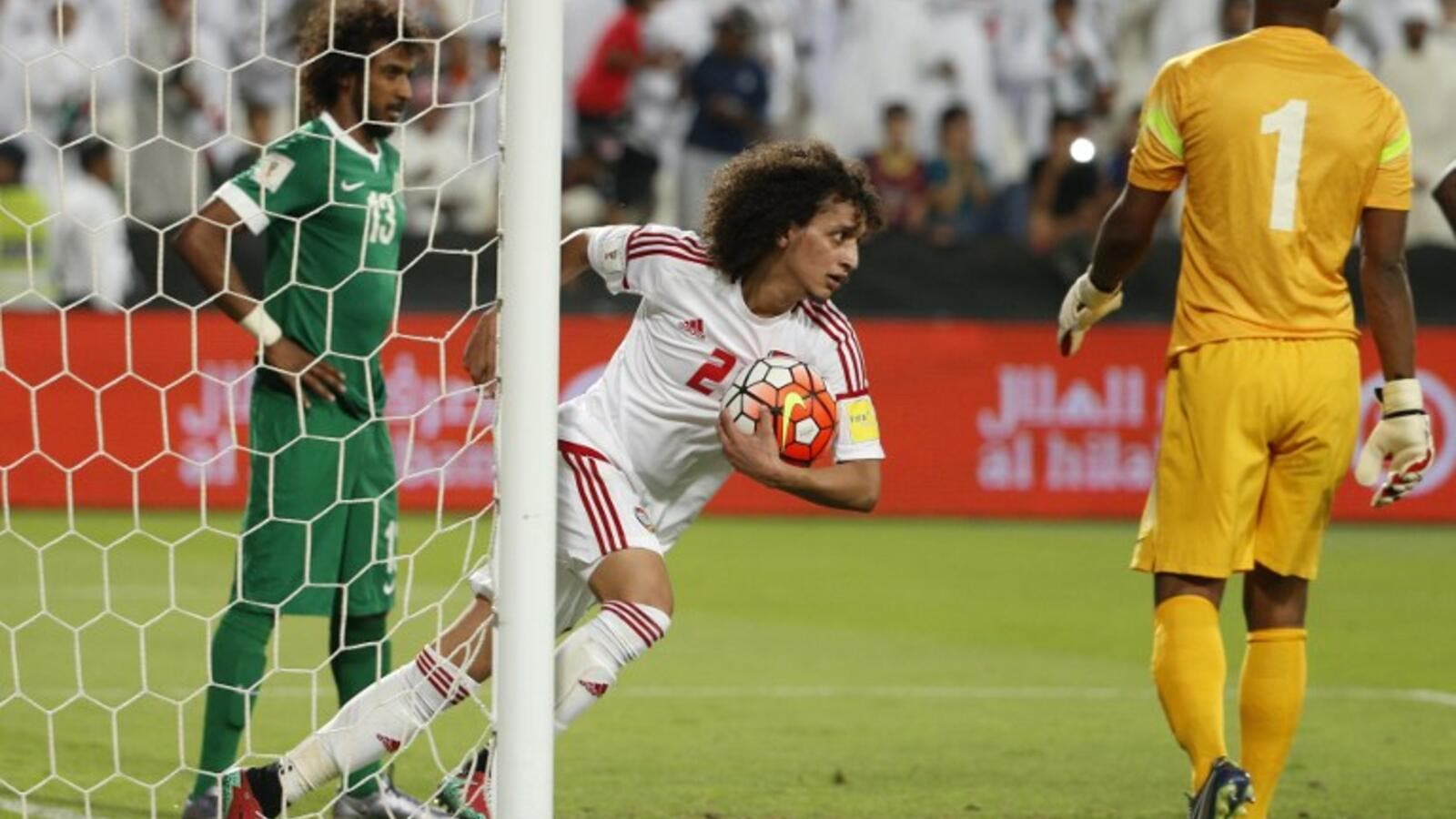 UAE's Omer Abdulrahman celebrates after scoring against Saudi Arabia during their World Cup 2018 Asian qualifying football match on March 29, 2016 at the Mohammed Bin Zayed Stadium in Abu Dhabi.