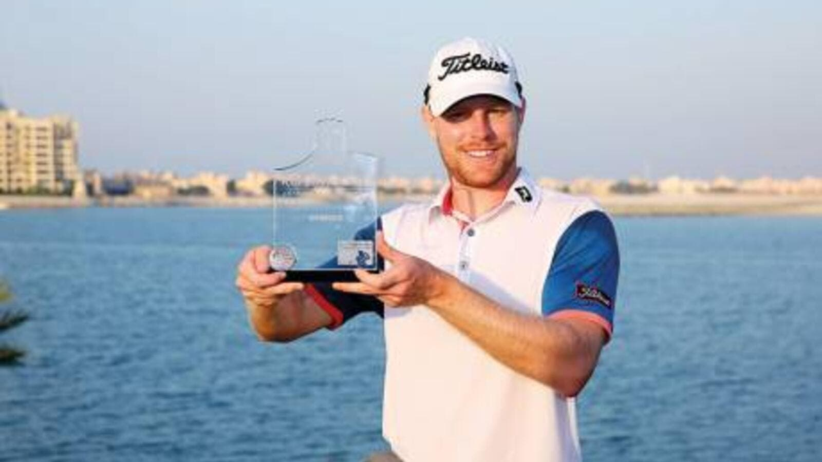 Jens Dantorp with the trophy after winning the Ras Al Khaimah 2017 Golf Challenge. (Photo: Organizer)