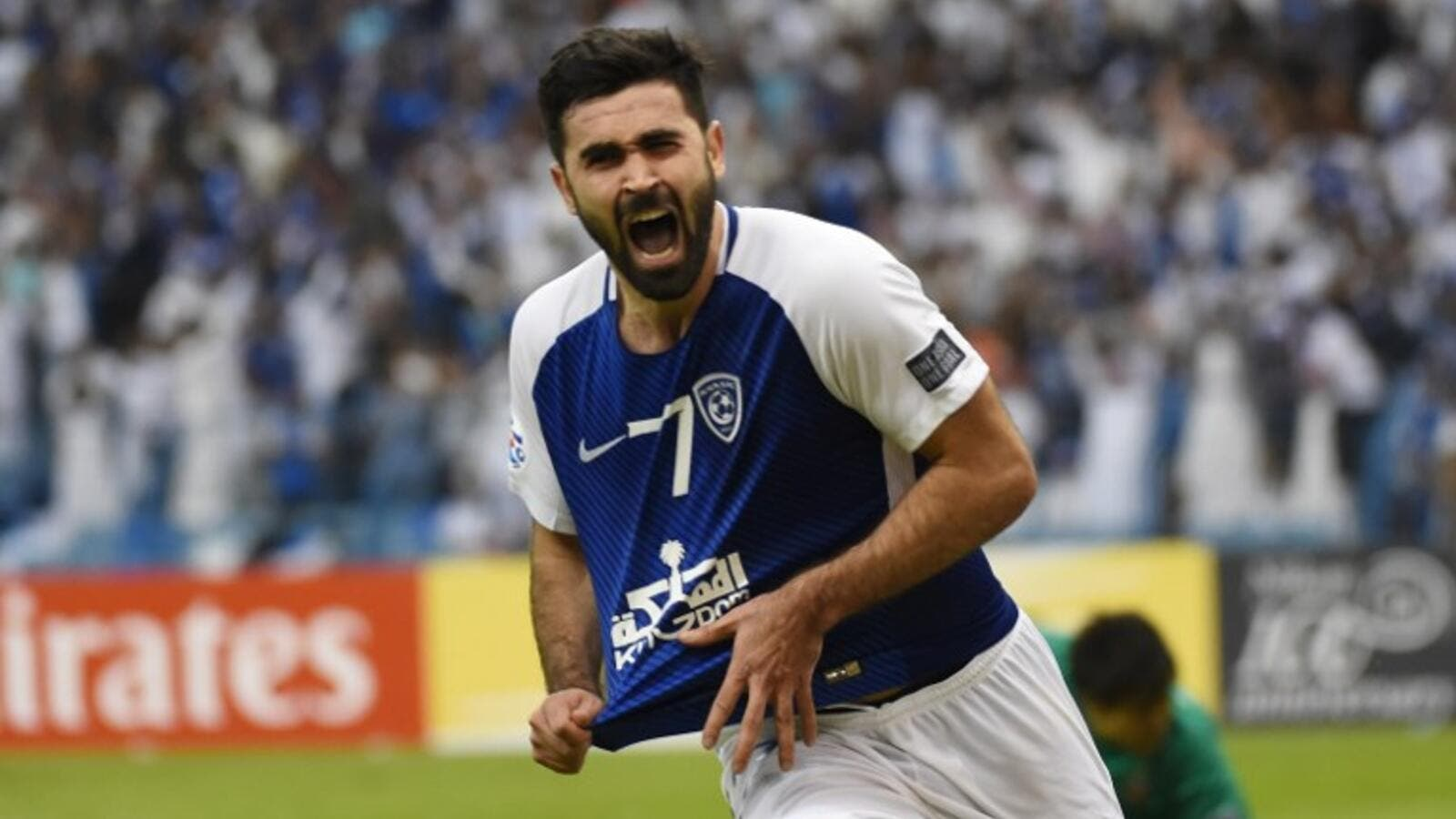 Al-Hilal's Omar Khrbin celebrates after scoring a goal during the Asian Champions League final football match between Saudi Arabia's Al-Hilal and Japan's Urawa Reds on November 18, 2017, at King Fahd Stadium in the capital Riyadh.