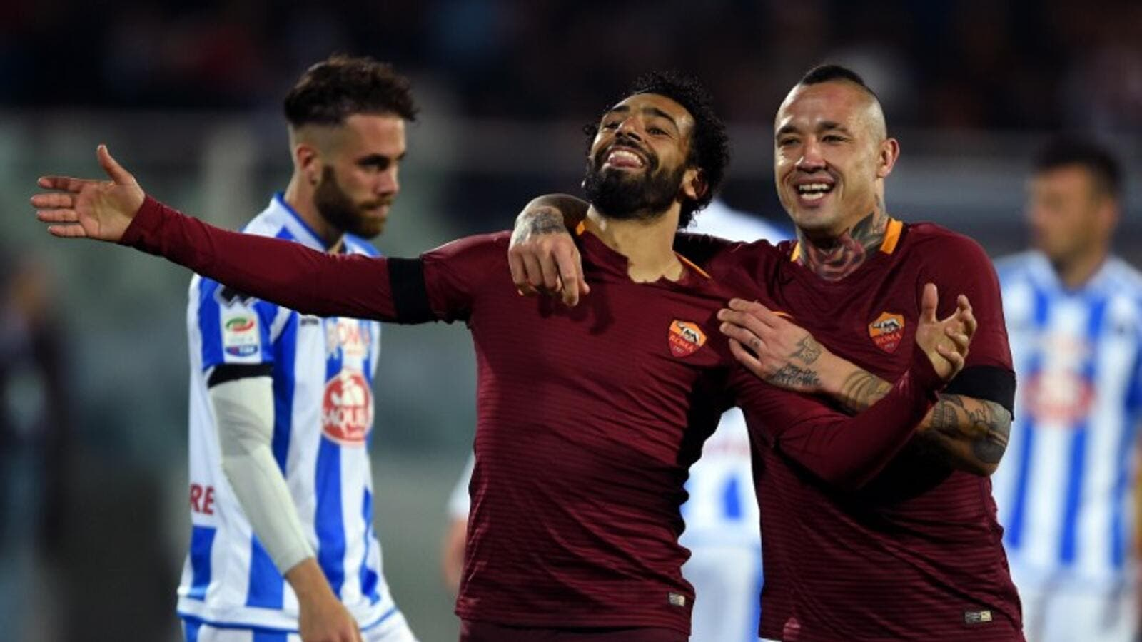 The Pharaohs star is enjoying a fine run in his second season with the Giallorossi, scoring 13 goals in Serie A so far this term