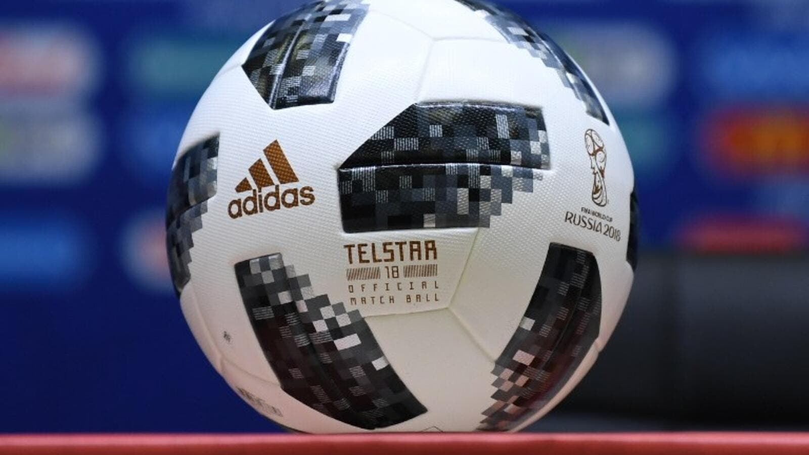 The official Adidas Telstar World Cup football is pictured prior to a press conference in Kaliningrad during the Russia 2018 World Cup football tournament. Ozan KOSE / AFP