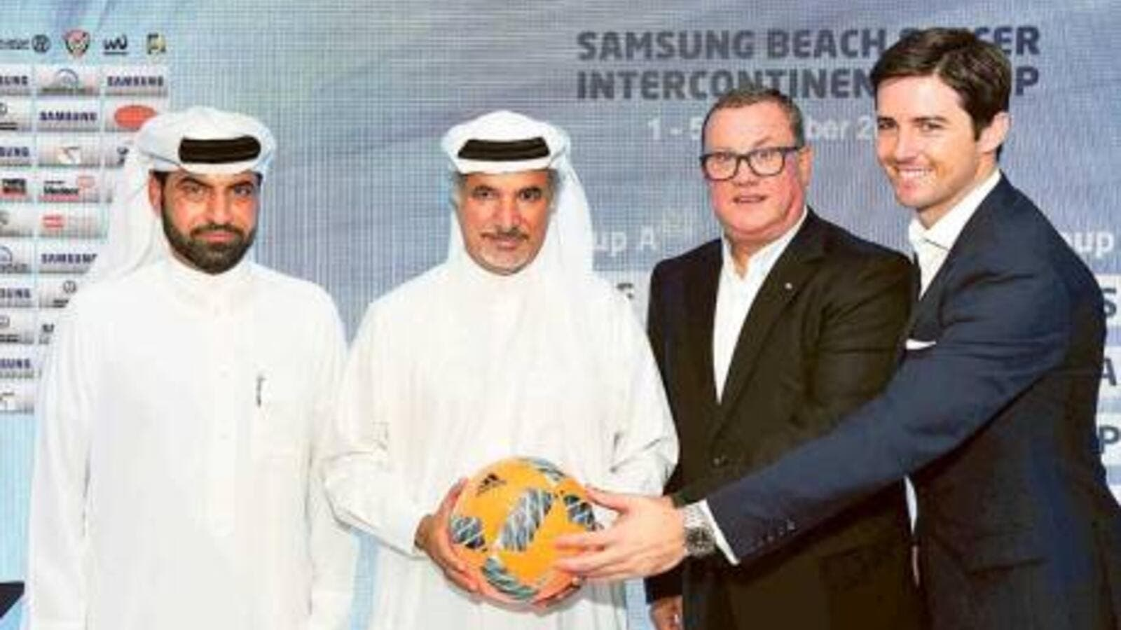 Saeed Hareb (second left) and Joan Cusco (second right) are joined by Ali Omar (extreme left) and Alex Soriano at the official draw ceremony for the Intercontinental Cup Dubai. (Photo: Dubai Sports Council)