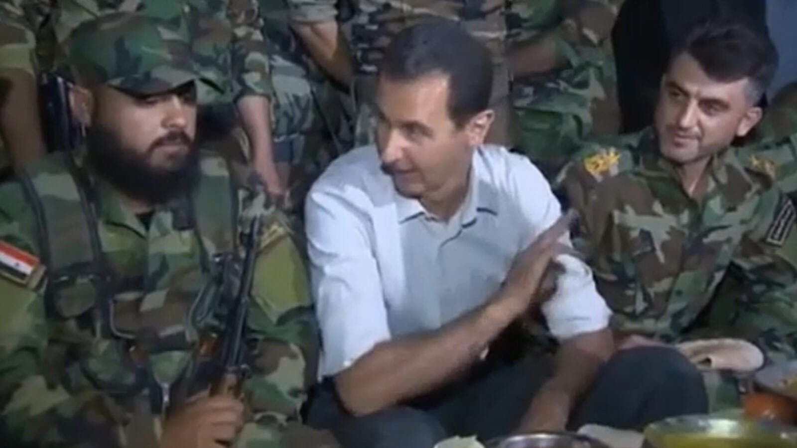 Footage showing Syrian President Bashar al-Assad visiting troops on the frontline near Damascus was broadcast on pro-government TV. (Euronews)