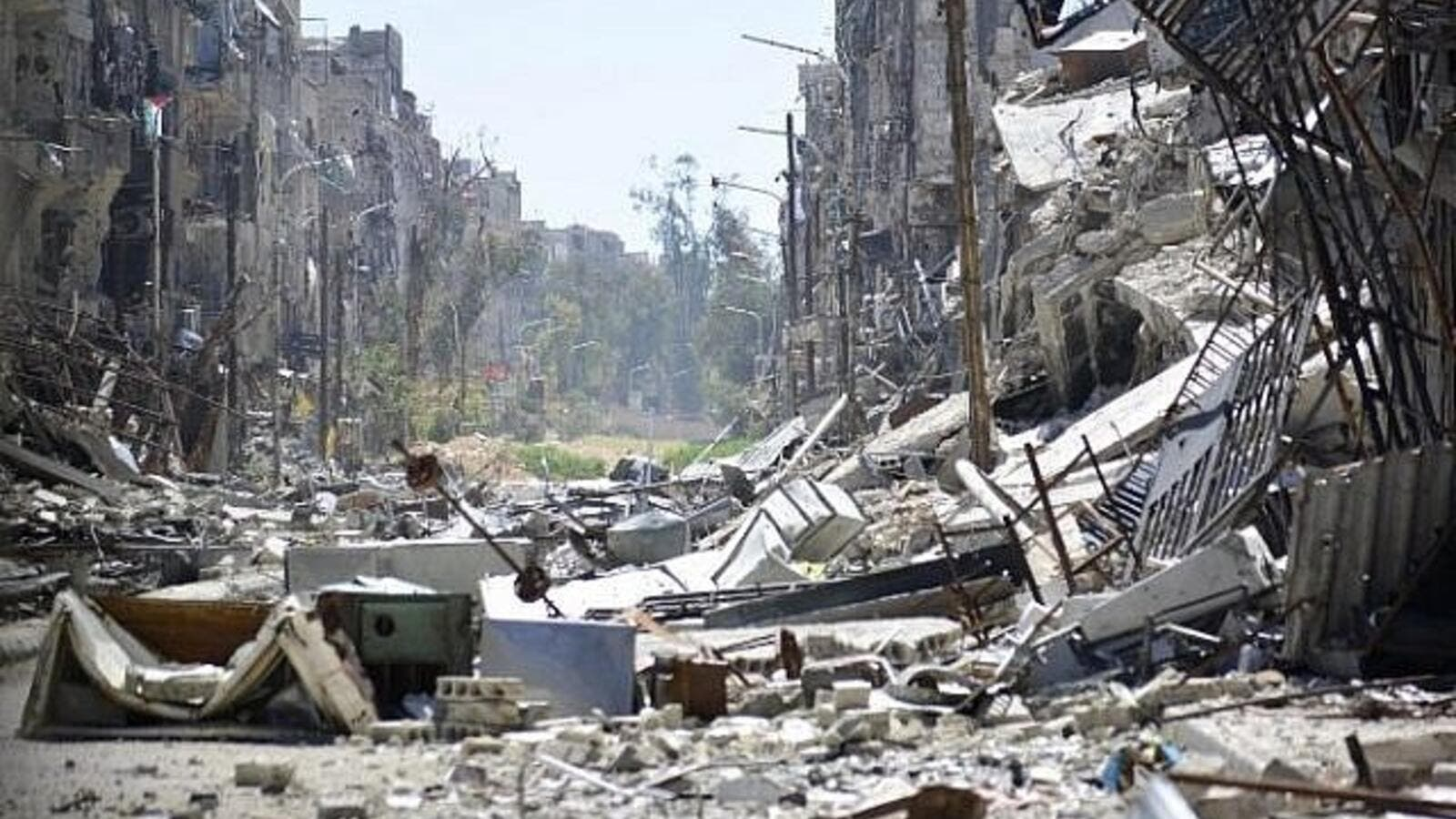 General view showing destruction in the Yarmouk Palestinian refugee camp outside the Syrian capital of Damascus. (AFP/ File Photo)