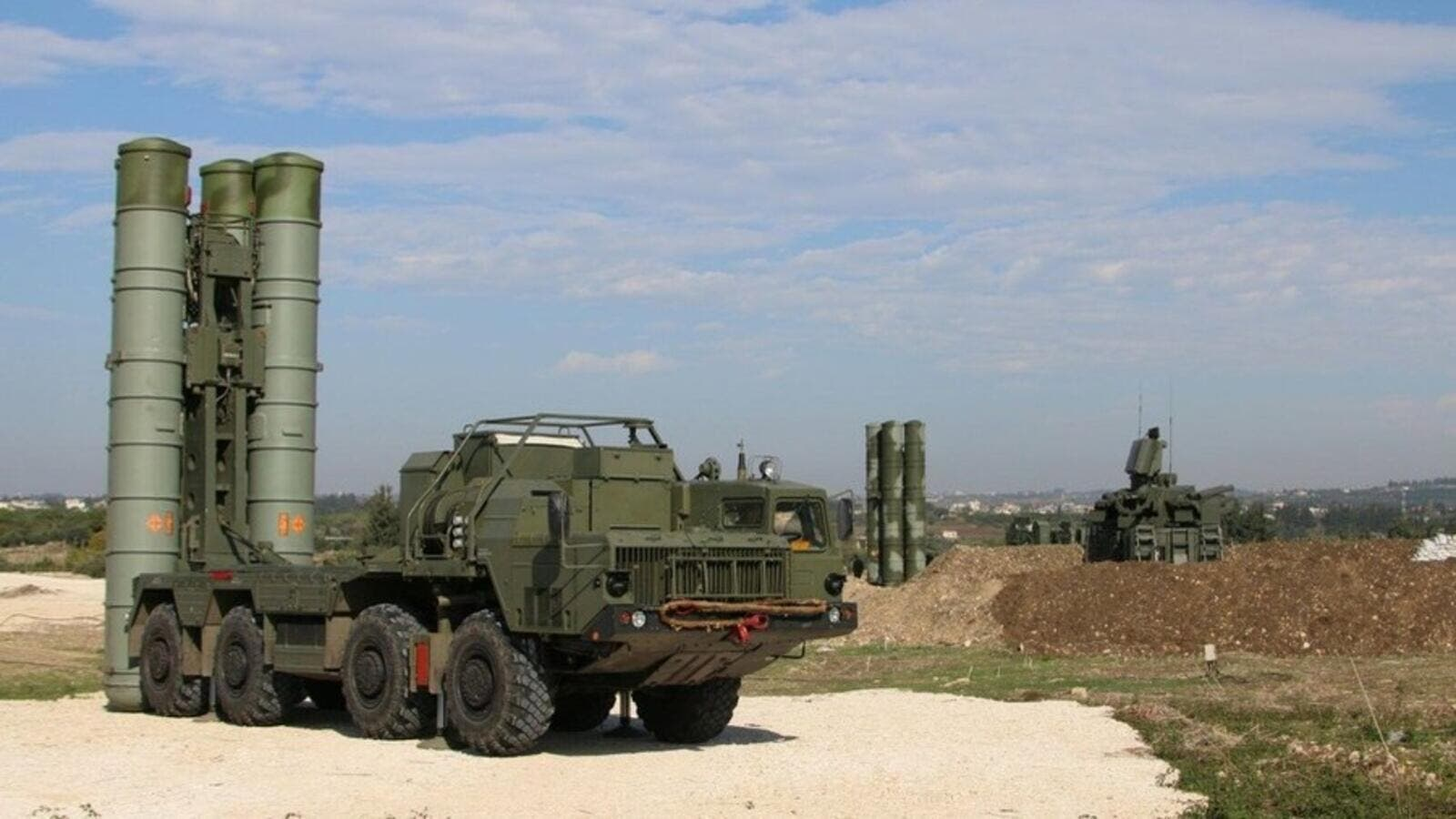 Russian S-400 air defence missile systems deployed at the Hmeimim airbase in Syria. (AFP/File)