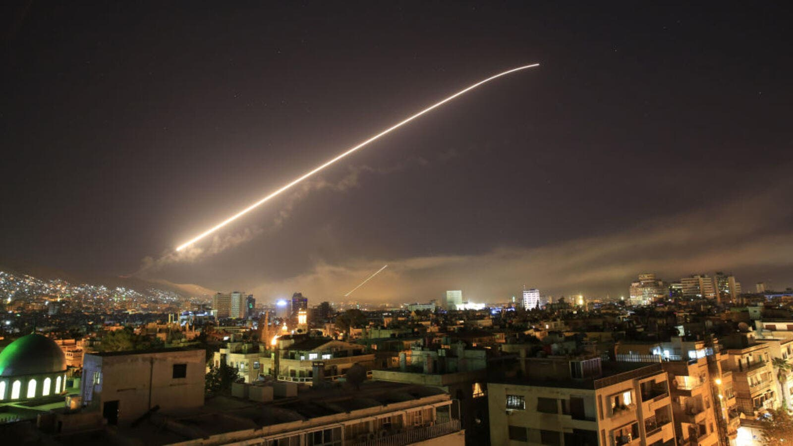 Syrian air defence systems intercepting Israeli missiles over Damascus' airspace. (AFP/ File Photo)