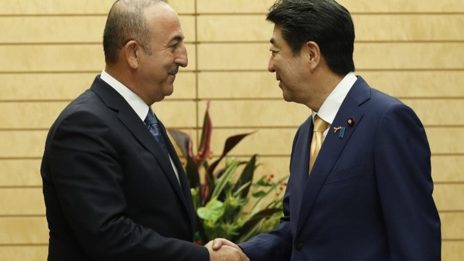 Turkish Foreign Minister Mevlut Cavusoglu (L) shakes hands with Japanese Prime Minister Shinzo Abe in Tokyo on November 6, 2018. (ISSEI KATO / POOL / AFP)