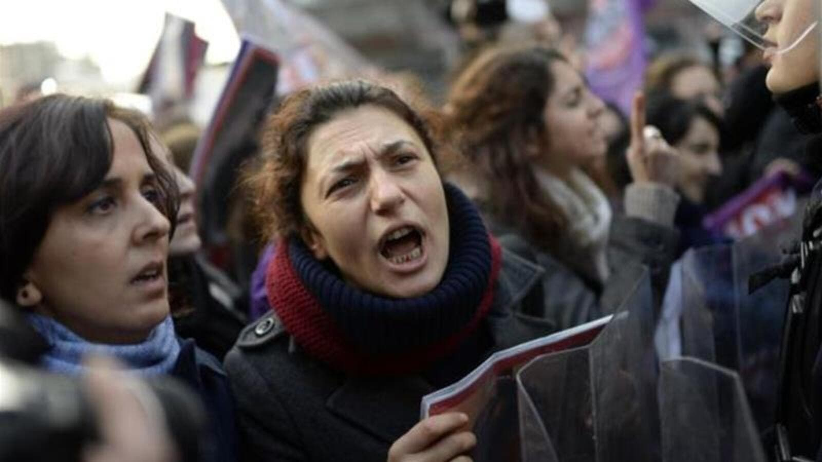 Turkish women protest against high rates of violence against women. (AFP)