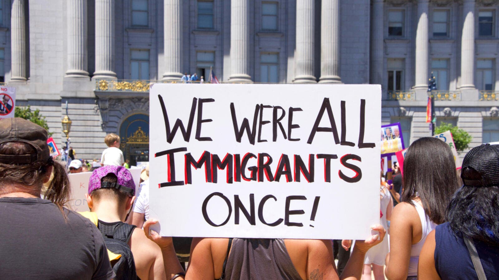 "Thousands of protestors in a ""Families Belong Together"" march to City Hall, protesting Trump's ""Zero Tolerance"" policy and the separation of families.. (Shutterstock/ File photo)"