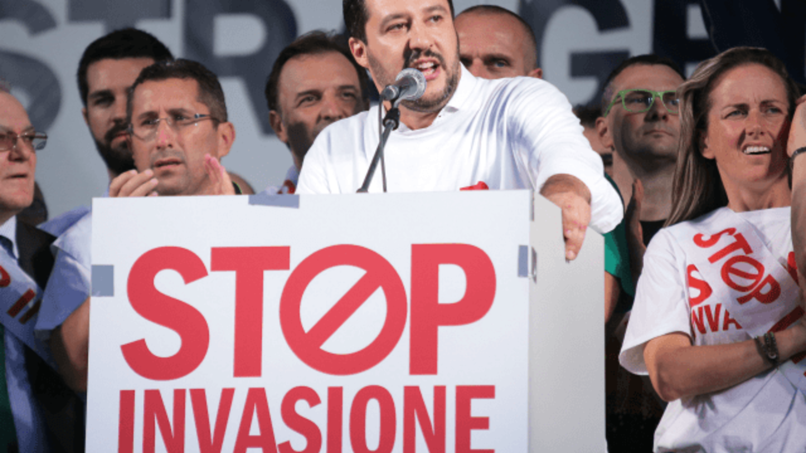 Matteo Salvini (C), head of the Italian political party, Lega Nord /AP