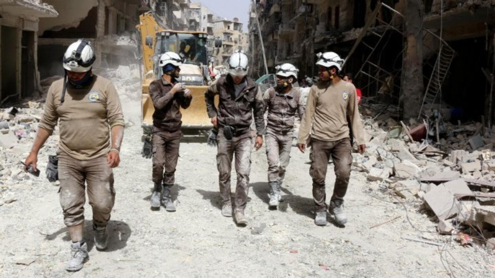 A group of White Helmets working in Aleppo (AFP/Thaer Mohammed)