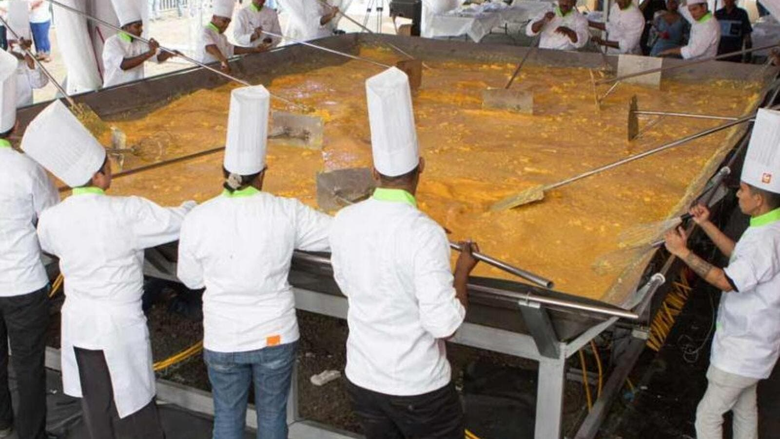 A nearly 5,500-pound batch of scrambled eggs cooked up by a team of chefs in Mauritius was certified as the world's largest. (Guinness World Records)