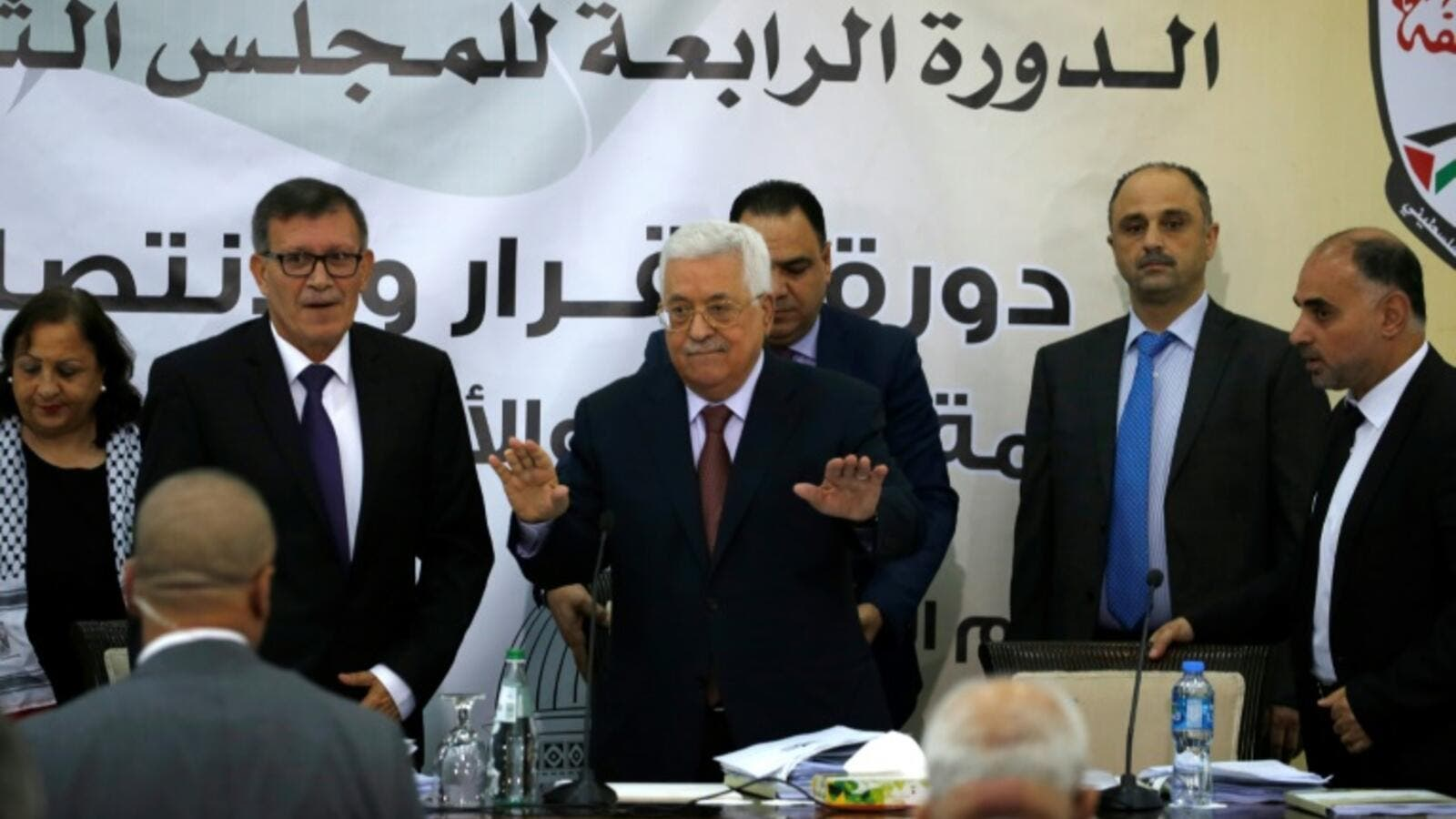 Palestinian Authority president Mahmud Abbas attends a meeting with the Revolutionary Council of the ruling Fatah party. (AFP/ File)