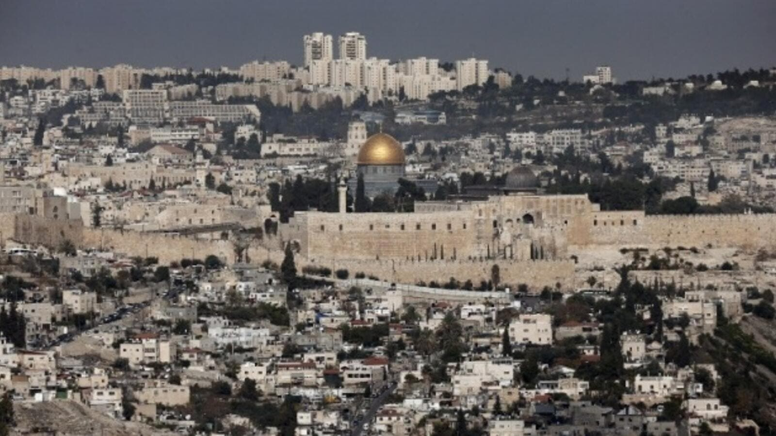 An aerial view of modern-day Jerusalem (AFP)