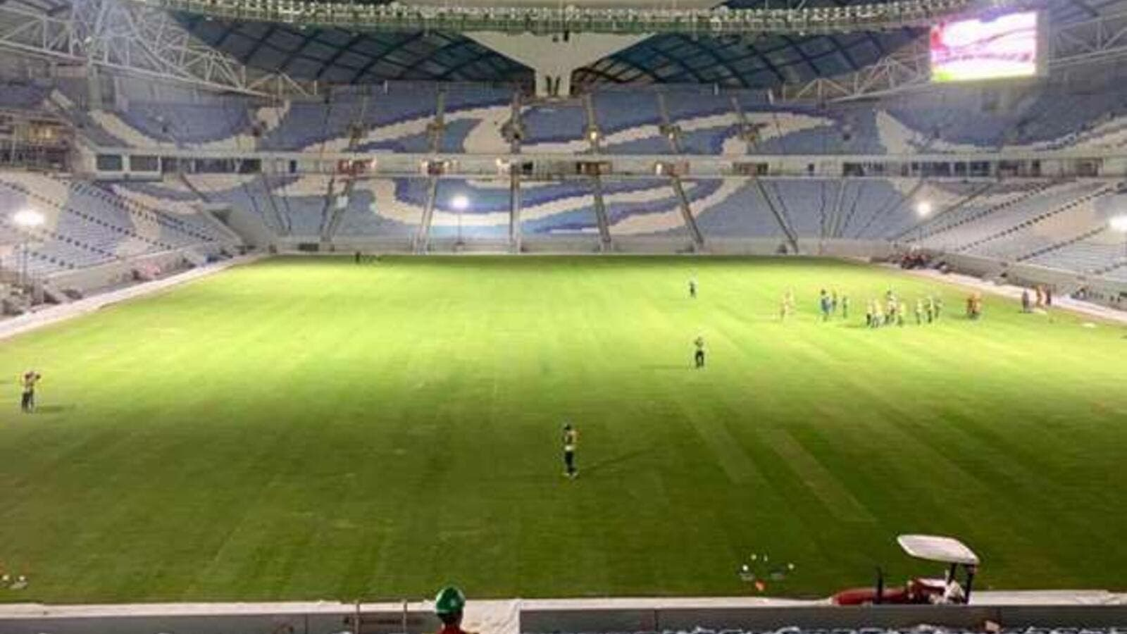 Al Wakrah Stadium after completion of turf laying (Photo: Gulf Times)