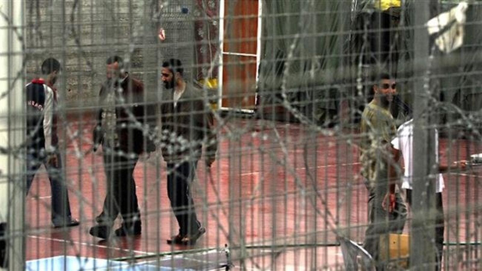 Palestinian prisoners in the yard of Israel's Megiddo prison. (AFP/ File Photo)