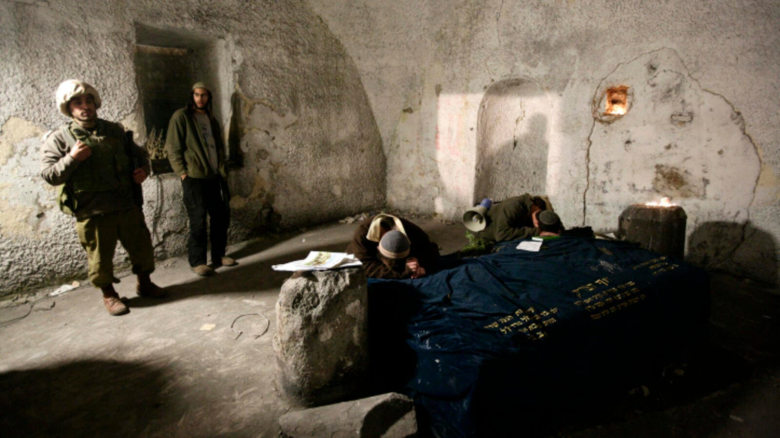 Jews at prayer in Joseph's Tomb in the West Bank city of Nablus. (AFP/File)