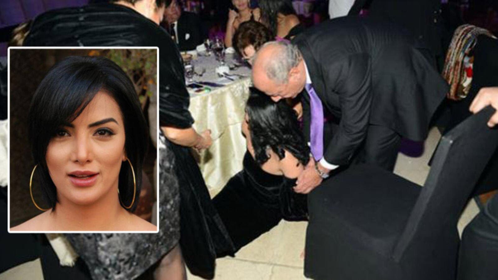 The funny moment Horeya fell off her seat in front of her celeb friends. (Image: Facebook)